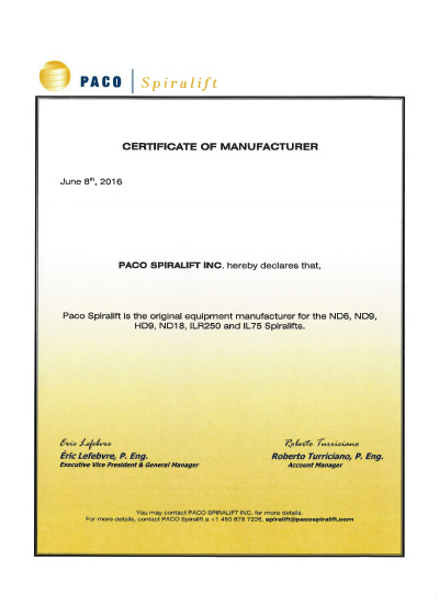 PACO certificate of manufacturer